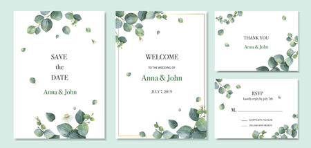 Illustration for Watercolor vector set wedding invitation card template design with green eucalyptus leaves. Illustration for cards, save the date, greeting design, floral invite. - Royalty Free Image