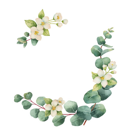 Illustration pour Watercolor vector wreath with silver dollar eucalyptus leaves and flowers. illustration for cards, wedding invitation,save the date or greeting design. Summer flowers with space for your text. - image libre de droit