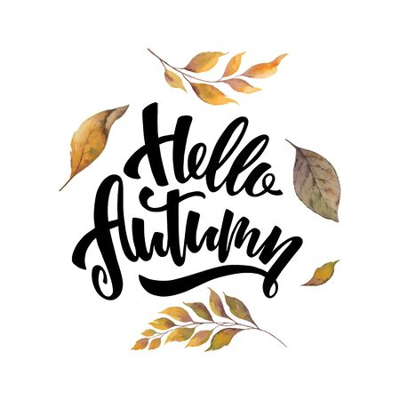 Photo for Watercolor card with hand lettering Hello autumn and leaves isolated on white - Royalty Free Image
