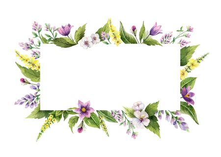 Watercolor hand painted vector frame with field flowers. Illustration for cards, wedding invitation, beauty store, decoration element, natural and organic products, save the date or romantic design..