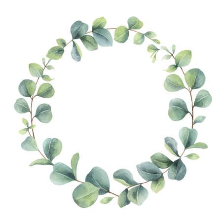 Illustration pour Watercolor vector wreath with eucalyptus branches and leaves. - image libre de droit