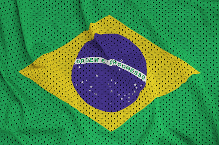 Brazil flag printed on a polyester nylon sportswear mesh fabric with some folds