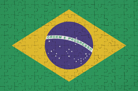Brazil flag  is depicted on a folded puzzle