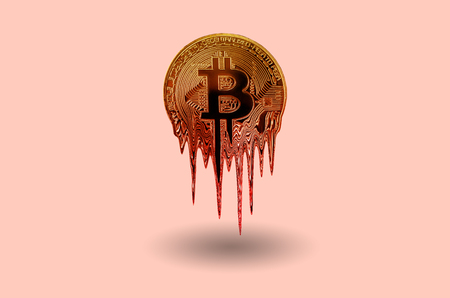 Melted bitcoin metal golden coin is melting on pink