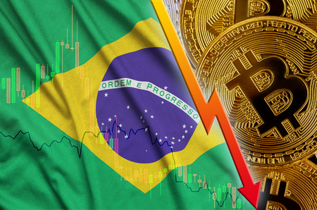 Brazil flag and cryptocurrency falling trend with many golden bitcoins. Concept of reduction Bitcoin in price or bad conversion in cryptocurrency mining