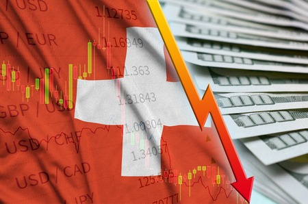 Switzerland flag and chart falling US dollar position with a fan of dollar bills. Concept of depreciation value of US dollar currency