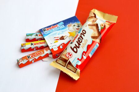 NY, USA - DECEMBER 15, 2019: Kinder Chocolate small box for kids and bueno white chocolate bar made by Ferrero SpA. Kinder is a confectionery product brand line of multinational manufacturer Ferrero