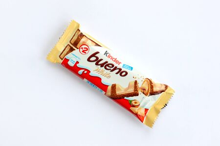 NY, USA - DECEMBER 15, 2019: Kinder Bueno white chocolate is a confectionery product brand line of Italian confectionery multinational manufacturer Ferrero