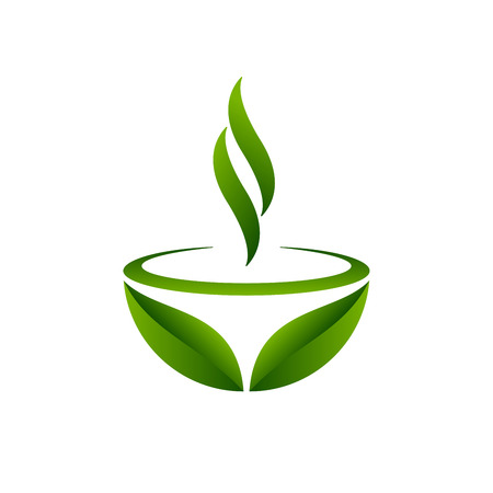 Illustration pour Green tea cup and leaves design. Green tea symbol on white background. Vector illustration. - image libre de droit