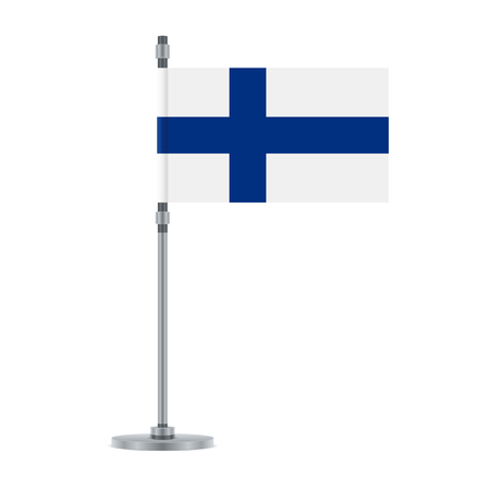 Illustration for Flag design. Finnish flag on the metallic pole. Isolated template for your designs. Vector illustration. - Royalty Free Image