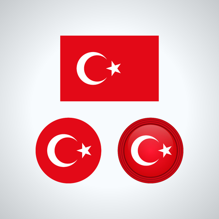 Flag design  Turkish flag set  Isolated template for your designs