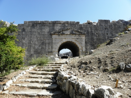 Stone steps leading to the entrance of the amphitheater in Letoon