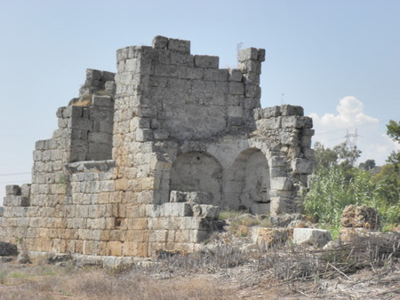 Ruins of a Byzantine basilica in the ancient Perge from the 6th century.
