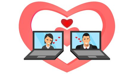 male and female appear on the laptop screen with the symbol of love. social media between laptops. a love affair through a laptop. illustration of digital social media relations.