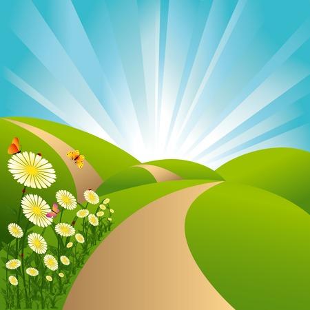 Spring landscape green fields blue sky flowers and butterflies