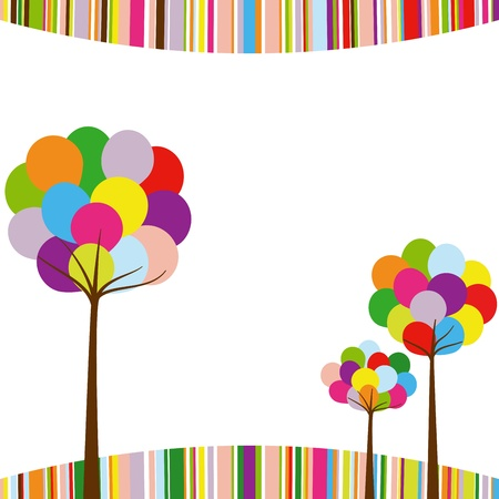 Abstract springtime rainbow color tree on colorful stripe background