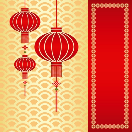Red chinese lantern on seamless pattern background