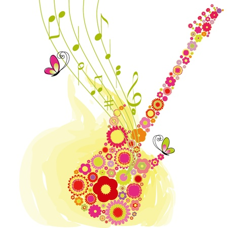 Abstract Springtime flower guitar music festival background