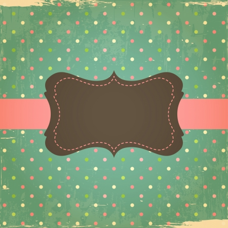 Foto de Retro Grunge Polka Dot Background with Label - Imagen libre de derechos
