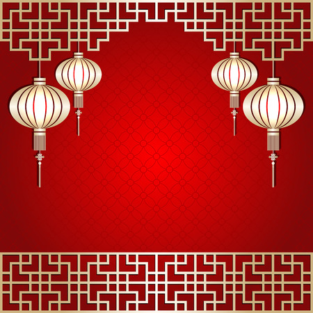 Golden Color Chinese New Year Lantern Background