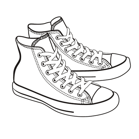 isolated cartoon sneakers lineart on white background