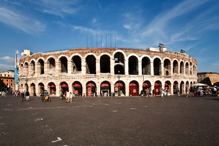 world famous amphi theater ,old roman arena from verona from outside