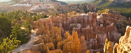 beautiful landscape in Bryce Canyon with magnificent Stone formation like Amphitheater, temples, figures in afternoon light