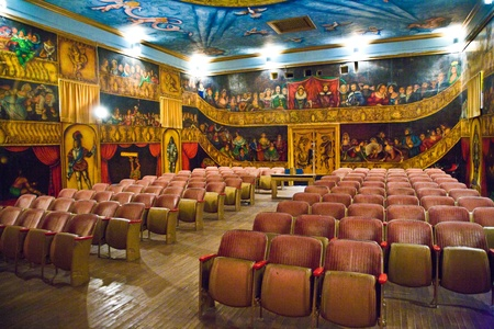 DEATH VALLEY JUNCTION, USA - JULY 17: inside the beautiful Amargosa Opera House painted by actor Martha Becket over jears and still operated by her on July 17, 2008 Death Valley Junction, USA