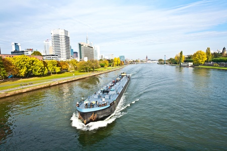 Photo for freight ship on the river Main in Frankfurt - Royalty Free Image