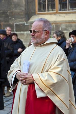 VIENNA, AUSTRIA - NOVEMBER 27: Bishop Franz Scharl is praying for the unborn child  on November 27, 2010 in Vienna, Austria.