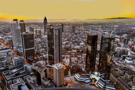 aerial of Frankfurt am Main in the evening