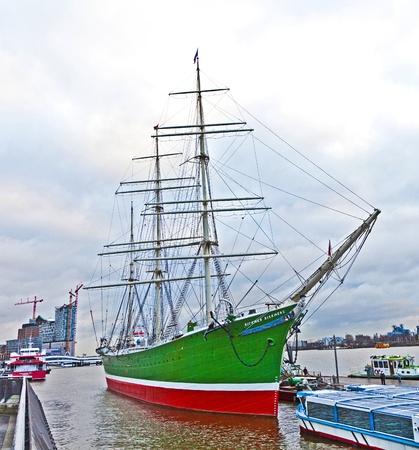 old sailor on pier of Landungsbruecken in Hamburg