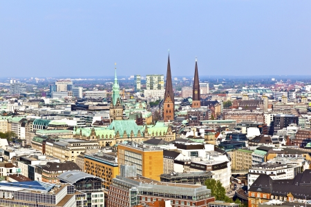 cityscape of Hamburg from the famous tower Michaelis with view to the city and the harbor