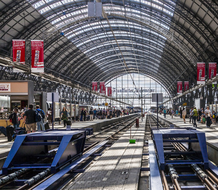 FRANKFURT, GERMANY - AUGUST 11: Inside the Frankfurt central station on Aug 11, 2012 in Frankfurt, Germany. With about 350.000 passengers per day its the most frequented railway station in Germany.