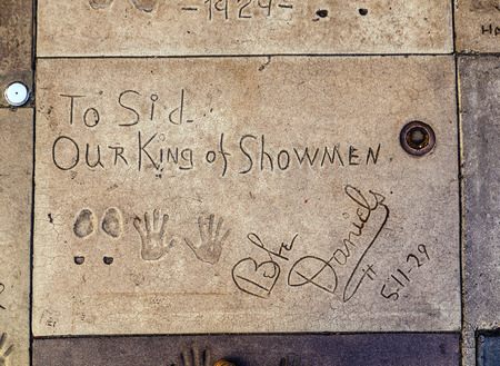 LOS ANGELES - JUNE 26:  handprints of Bebe Daniels in Hollywood in the concrete of Chinese Theatre's forecourt on June 26,2012 in Los Angeles. There are nearly 200 celebrity handprints in the concrete of Chinese Theatre's forecourt.