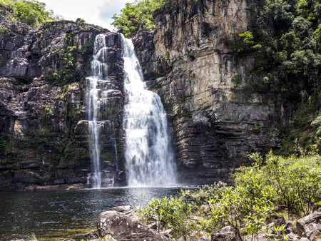 waterfall in  Chapada dos Veadeiros National Park in trpoical area