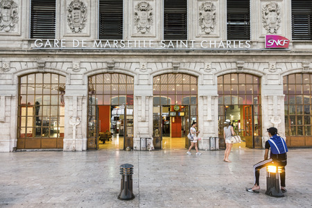 MARSEILLE, FRANCE, JULY 10, 2015: View of Saint Charles train station in Marseilles, France. The Station opened in 1848 .