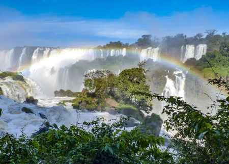 famous Iguazu waterfalls at Border of Brazil and Argentina