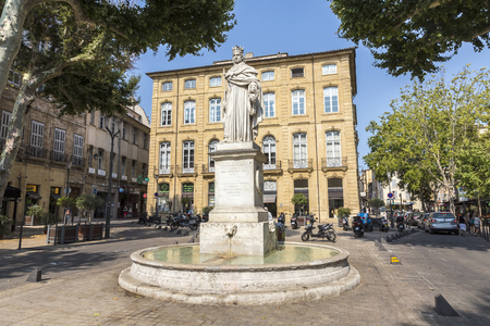 AIX EN PROVENCE, FRANCE - famous fountain du Roi Rene in Aix en Provence, France. The king (1409 - 1480) made Aix famed as a center of learning and art.