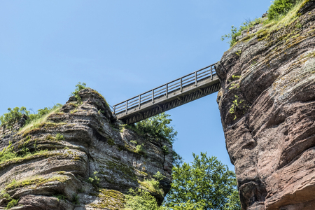 devils bridge at famous haute-barr castle in Alsace, Saverne, France