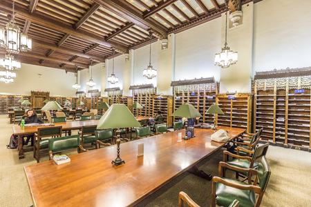 NEW HAVEN, USA - OCT 28, 2015: Interior of Yale University library in New Haven.