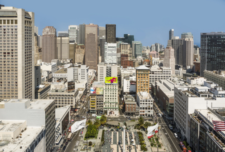 SAN FRANCISCO, USA - JULY 24, 2010: Platform at the Sheraton is open for Tourists at Midday to get a scenic overview  over the city  in San Francisco, USA.
