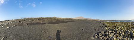 black volcanic beach at Janubio in Lanzarote