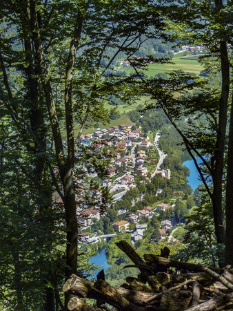 aerial view to village of  Most na Soci in Slovenia