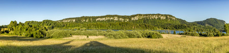 panoramic landscape in french Jura region at Le Frasnois under blue sky