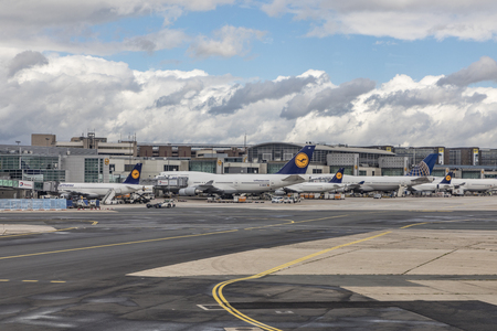 Frankfurt, GERMANY - SEP 11, 2017: aircrafts at terminal 1 in Frankfurt Rhein-Main airport.  In 2016, Frankfurt Airport (FRA) served a total of 60,792,308 passengers