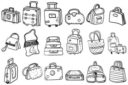 Ilustración de Coloring page or book, antistress, hobby. Variations of bags, hand luggage, suitcases for design set. Theme for travel, education and fashion. Vector. Vector doodles - Imagen libre de derechos