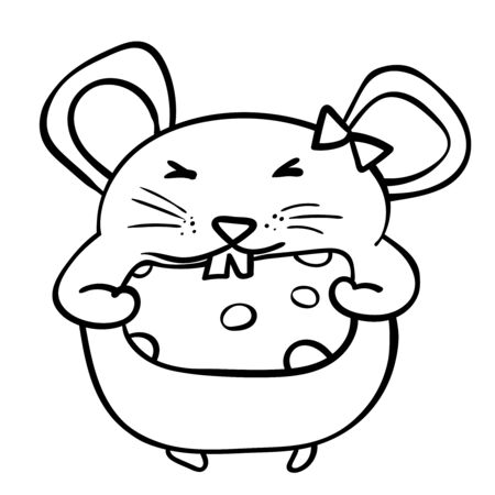 Illustration pour Rat or mouse chewing a piece of cheese. Coloring page adult and kids. Symbol of the New Year 2020. Cartoon style, vector. - Vector. Vector illustration - image libre de droit