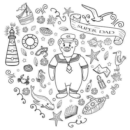 Illustration pour Big coloring Sea Doodles hand drawn Vector illustration. - image libre de droit