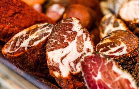 Selection of traditional Italian cured meats and sausages, selective focusの写真素材